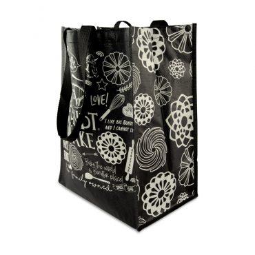 Filled Bundt Shopping Tote Bag, side angle in black