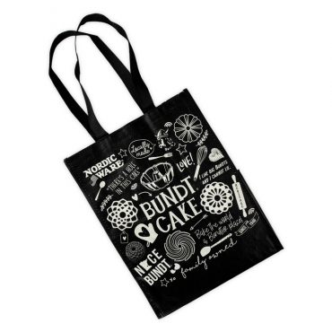 Bundt Shopping Tote Bag in black with Nordic Ware Bundt-themed designs and handles.