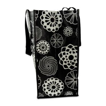 Side panel design of Bundt Shopping Tote Bag, filled and upright