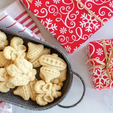 Baked cookie cut outs in tray