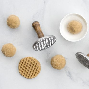 Stamped cookie dough, dough balls, stamps
