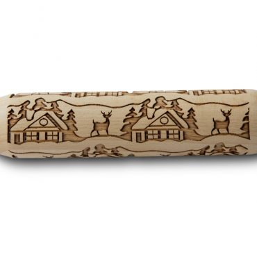 Woodland Cottage Embossing Rolling Pin, closeup
