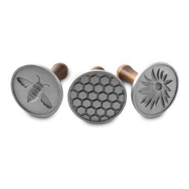 3 piece Honeybee cookie stamp set with wooden handles