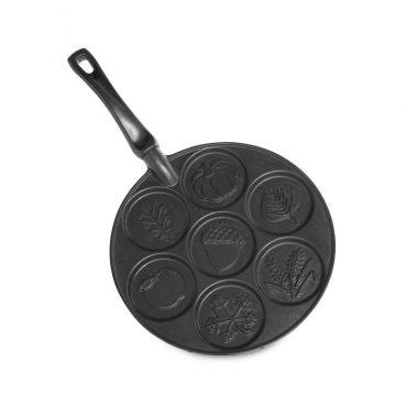 Round Autumn Leaves Pancake Pan with 7 cavities