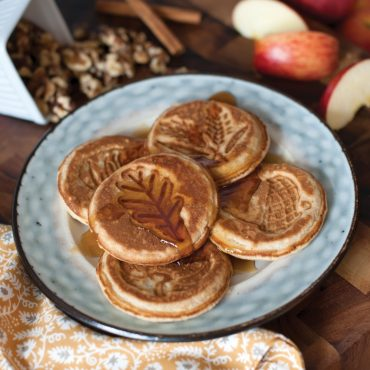 Plate with Autumn pancakes and syrup