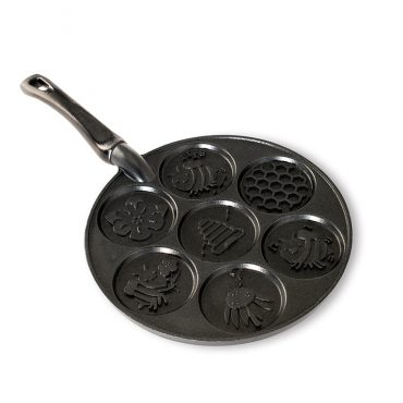Honey Bee Pancake Pan, 7 different designs: bees, honeycomb, flower, beehive and a black handle