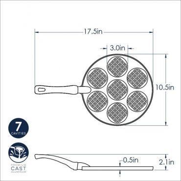 Dimensional drawing Silver Dollar Waffle Pan