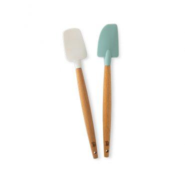 2 Piece Small Spatula Set, one spoonula in white and one classic spatula design in sea glass color.