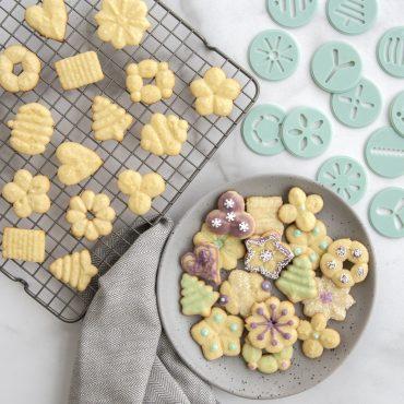 Baked and decorated spritz cookies using spritz cookie discs