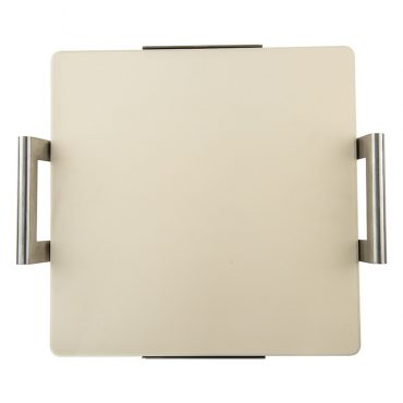 Square Pizza Stone with rack, front end