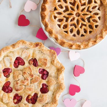 Valentines Day baked pies with 2 pie crust designs
