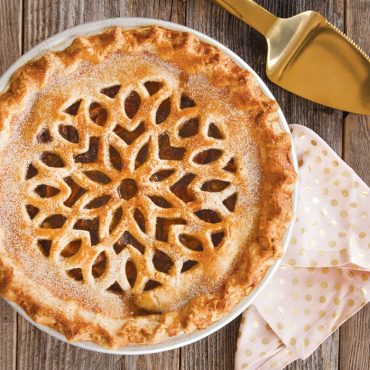 Baked pie with lattice pie crust topping
