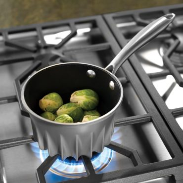 Brussels sprouts in Flare pan on stove top