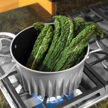 Collard greens in Flare stock pot on stove top