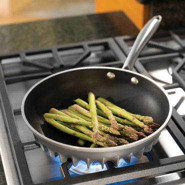 asparagus in Flare saute pan on stove top