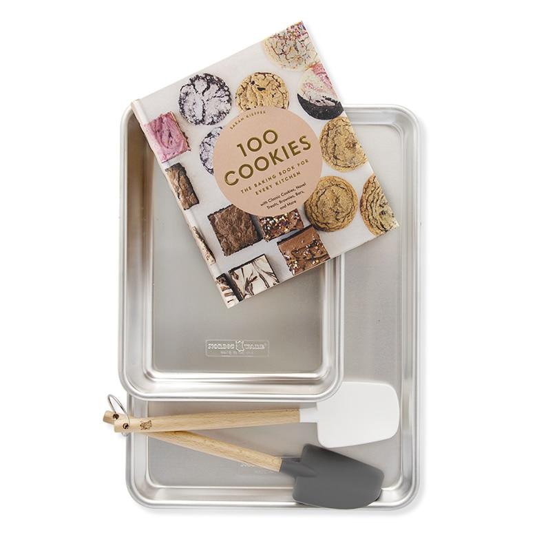 100 Cookies Cookbook, Half Sheet, 9 X 13 Pan and Spatula Set