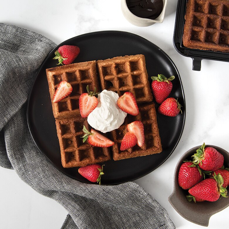 Chocolate Waffles with Vanilla Bean Whipped Cream and Strawberries