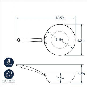 """8"""" Wok dimensional drawing"""