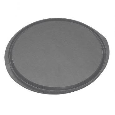 Cast aluminum round reversible grill and griddle, reverse flat side