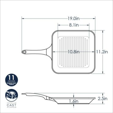 """11"""" Procast Grill Pan dimensional drawing"""