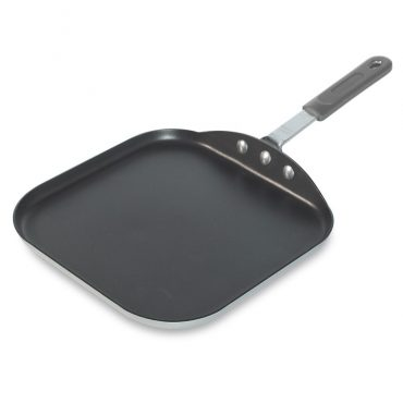 """11"""" Square Griddle, flat interior, metal handle with silicone removable grip"""