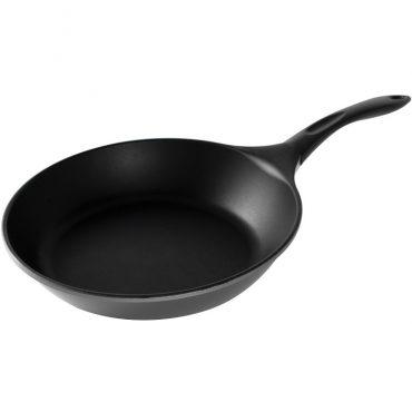 Cast aluminum saute pan, nonstick interior surface, composite handle
