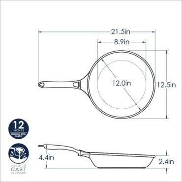 "12"" Saute Skillet Dimensional Drawing"