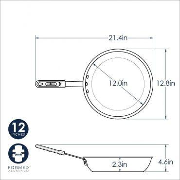 """Dimensional Drawing 12"""" Saute Pan"""