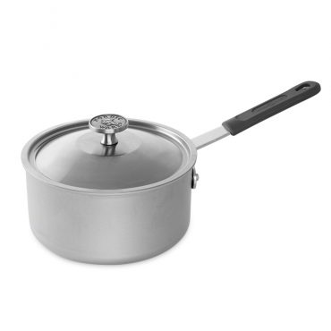 3 Qt Saucepan With Lid and cast aluminum knob, handle with removable silicone grip