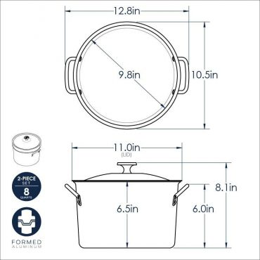 8 Qt Stock Pot with Lid dimensional drawing