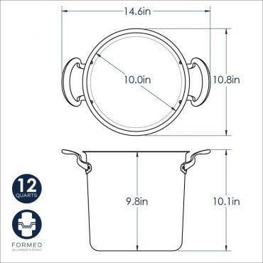 12 Qt Stock Pot dimensional drawing