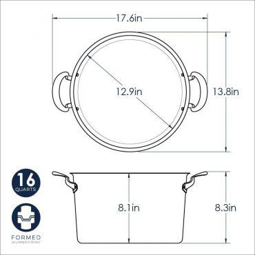 16 Qt Stock Pot dimensional drawing