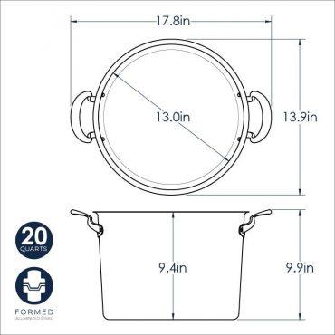 20 Qt Stock Pot dimensional drawing