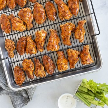 Baked chicken wings on Extra Large Oven Crisp Baking Tray