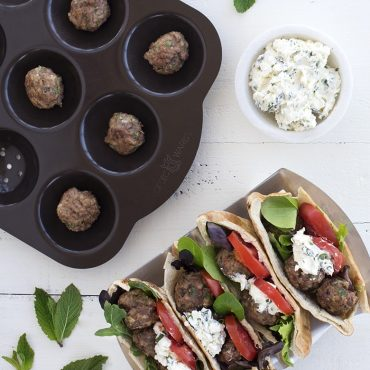 Pita sandwich in taco rack with meatball griller, meatballs