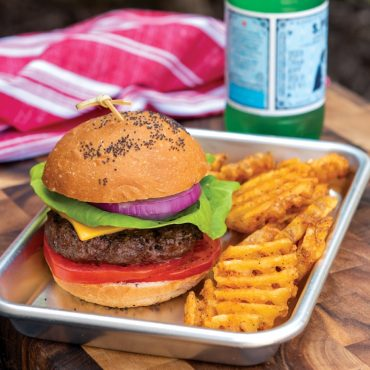 hamburger with tomato, cheese, lettuce, onion on bun with potato chips in pan