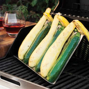 Zucchini on grill tent on grill