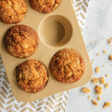 Crumble top muffins baked in Nonstick Compact Muffin Pan
