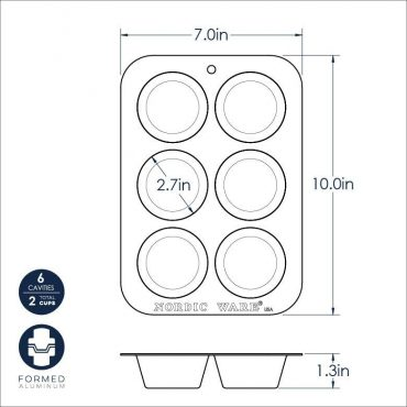 Compact Nonstick Muffin pan dimensional drawing