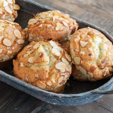 Baked muffins in dish