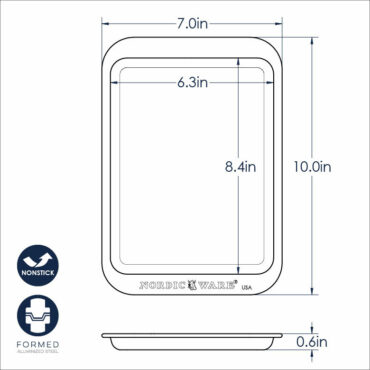 Compact nonstick sheet pan dimensional drawing