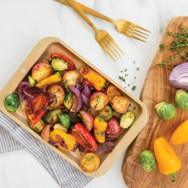 Vegetables on Nonstick Compact Baking Pan