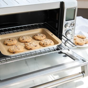 Cookies on compact baking pan in toaster oven