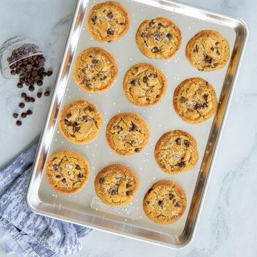 Baked cookies on half sheet
