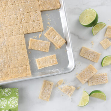 Baked Shortbread Bars and Lime wedges