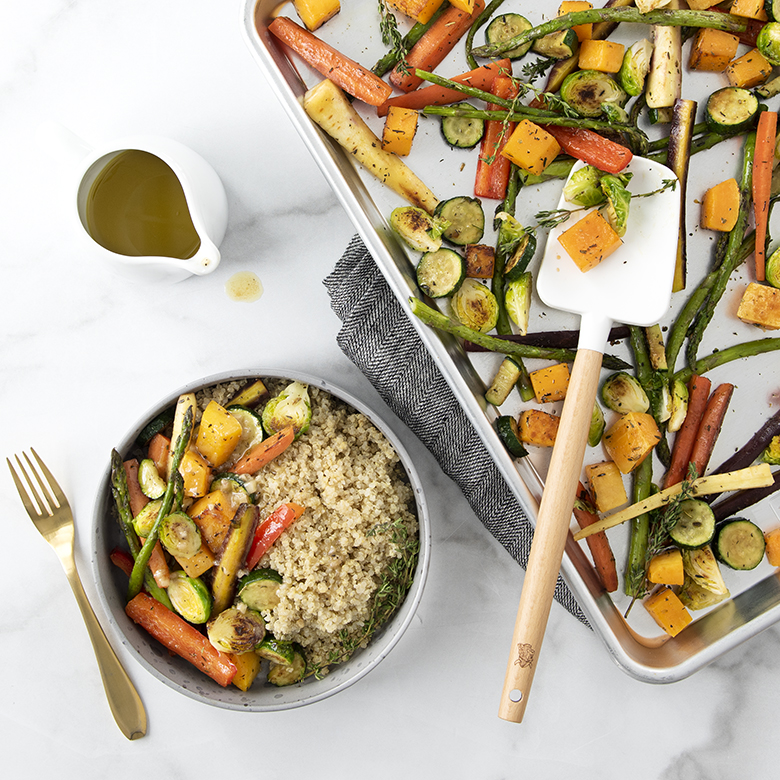 Roasted Herb Vegetables and Quinoa Bowl With Honey Mustard Dressing
