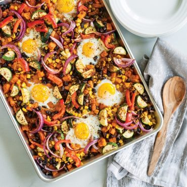 Breakfast hash sheet pan meal
