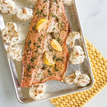 Roasted salmon, cauliflower on sheet pan