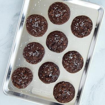 Chocolate cookies on half sheet