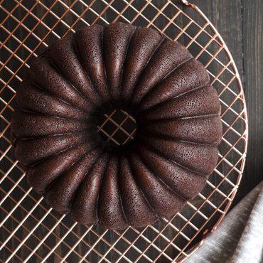 Baked Bundt Cake on copper rack